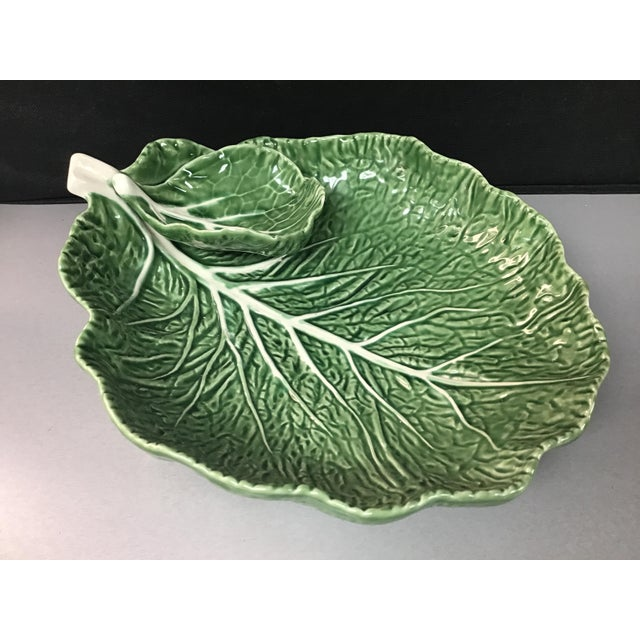 "Ceramic Mid-Century Portuguese Green ""Cabbage Leaf"" Chip & Dip or Crudité Platter For Sale - Image 7 of 8"