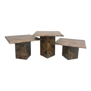 Vintage Mid Century Brown Marble Pedestal Coffee Tables- Set of 3 For Sale