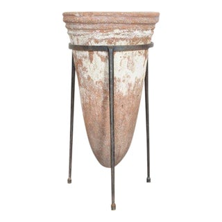 Antique Terra Cotta Waterfilter in Iron Stand For Sale