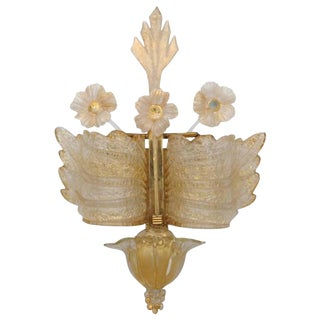 Vintage Barvoier Et Toso Early Murano Rugiada Glass Wall Sconce For Sale