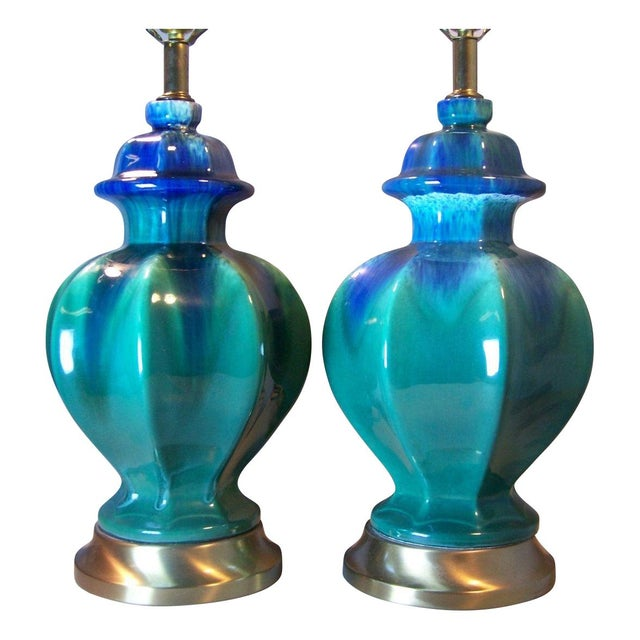 Mid-Century Green Drip Glaze Lamps - A Pair - Image 1 of 5