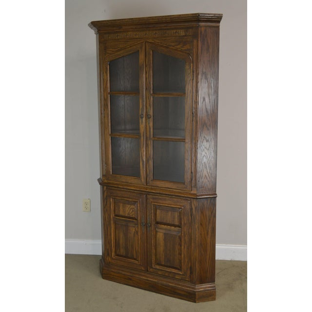 High Quality American Made Solid Oak Corner Cabinet by Ethan Allen