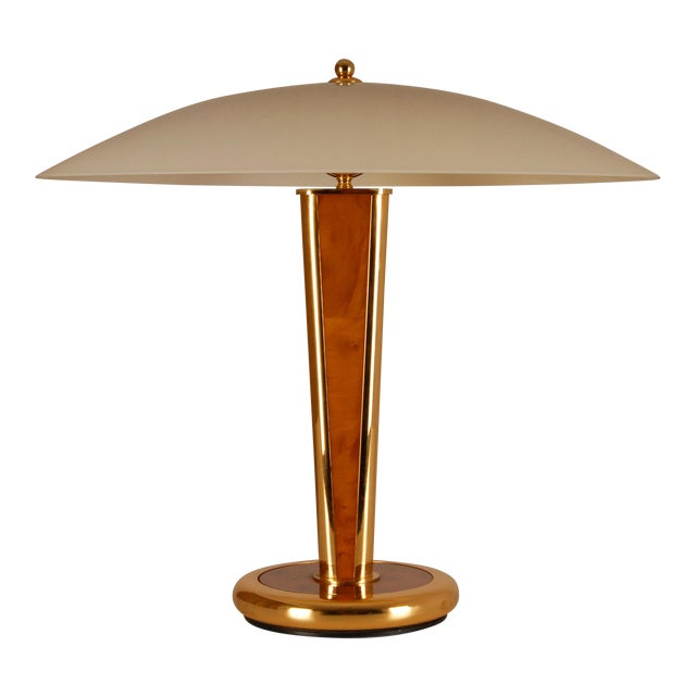 Mid Century Mushroom Gilt Brass and Burl Wood Table Lamp with Hand Crafted Glass Shade Milo Baughman Style For Sale