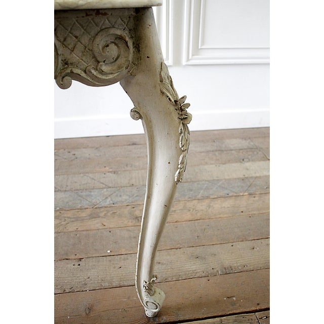 20th Century French Carved Console Table With Marble Top For Sale - Image 10 of 13