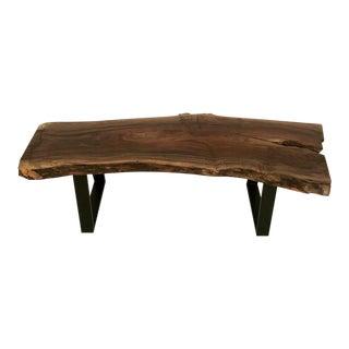 Custom Made Claro Walnut Slab Bench With Metal Base For Sale