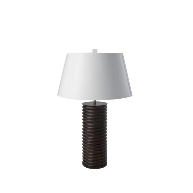 Modern Turned Oak Table Lamp - Image 1 of 6