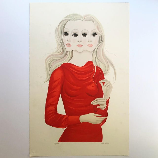 Lithograph 1976 Margaret Keane Signed Lithograph Portrait Print For Sale - Image 7 of 9
