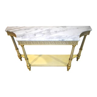 Vintage Lane Provincial Style Marble Top Painted Console For Sale