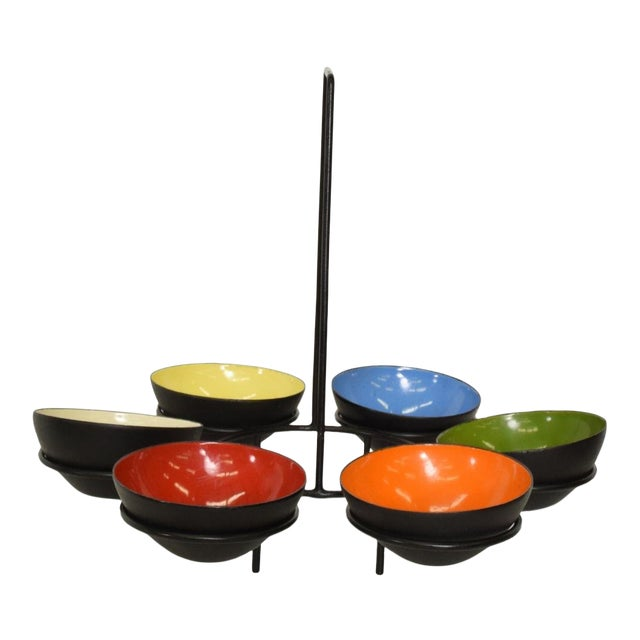 Mid-Century Modern Center Piece Enamel Bowls - 6 Pc. Set For Sale