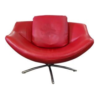 Label Gigi Red Leather Swivel Chair With Throw Pillow For Sale
