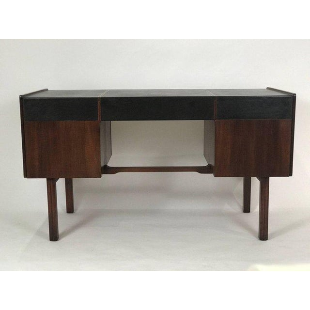 1960s Bert England for John Widdicomb Leather Top Walnut Stilted Desk With Brass Pulls For Sale - Image 5 of 12