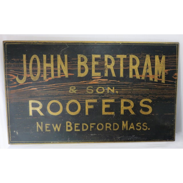 Black Antique Wood New Bedford Mass. Roofers Sign For Sale - Image 8 of 13