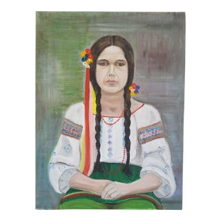 1970s Vintage Portrait of Girl Acrylic on Canvas Painting For Sale