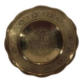 Vintage Etched Design Brass Tray For Sale
