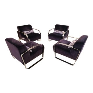 Lazar Industries Purple and Chrome Chairs - Set of 4 For Sale