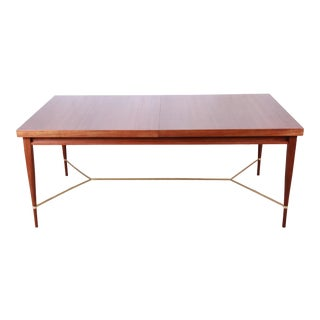 Paul McCobb for Calvin Irwin Collection Mahogany and Brass Extension Dining Table, Newly Refinished For Sale