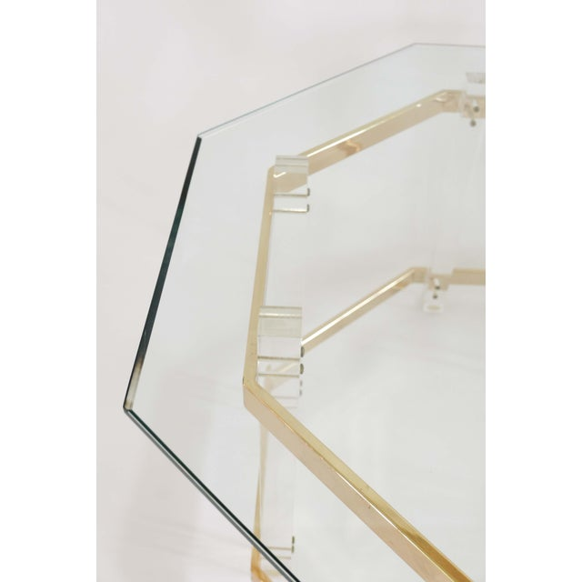 1960s Art Deco Charles Hollis Jones Brass and Lucite Octagonal Coffee Table For Sale - Image 9 of 10
