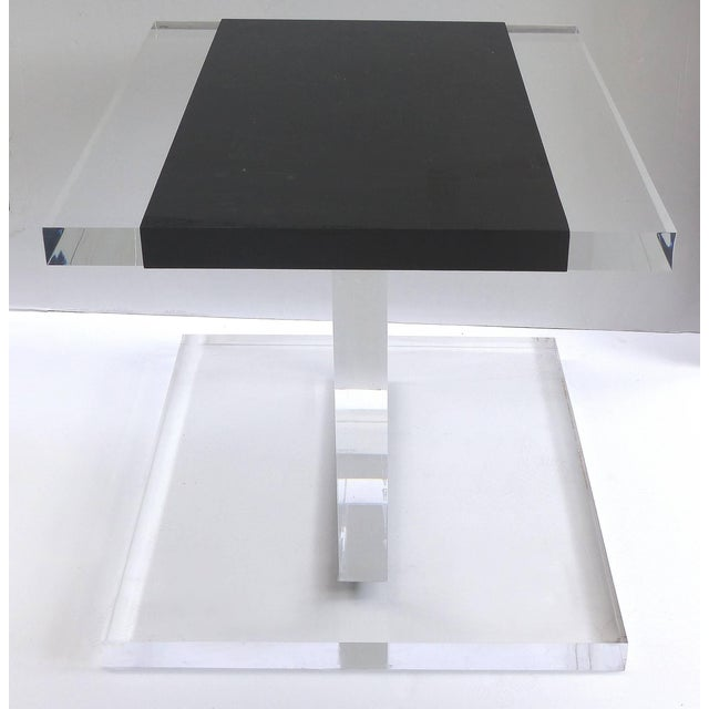 Custom Lucite Side Table with Removable Black Acrylic Sleeve Offered for sale is a custom-made thick and heavy Lucite side...
