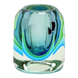 Murano Flavio Poli Seguso Green Blue Block Votive Trinket Paper Weight For Sale