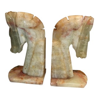 Alabaster Horse Bookends - a Pair For Sale