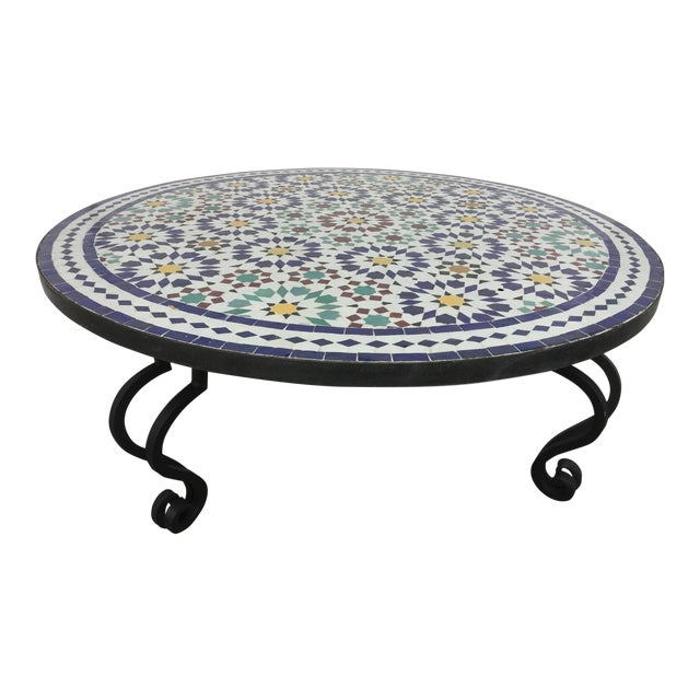 Incredible Moroccan Mosaic Round Tile Coffee Table On Iron Base Theyellowbook Wood Chair Design Ideas Theyellowbookinfo