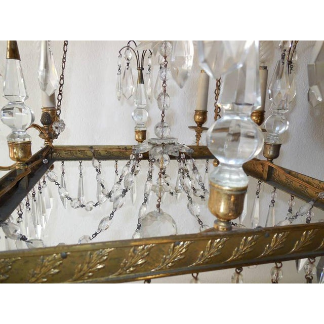 19th Century French Neoclassical Crystal and Bronze Chandelier with Spears For Sale - Image 10 of 11