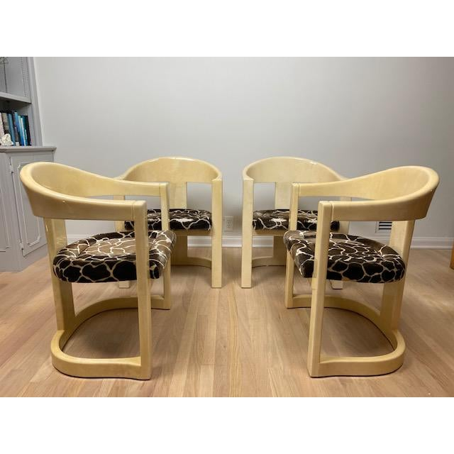 """Set of four authentic vintage 1980's Karl Springer LTD, """"Jackie O"""" / Onassis chairs in lacquered goatskin parchment...."""