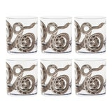 Image of Snake Double Old Fashioned Glasses Platinum - Set of 6 For Sale