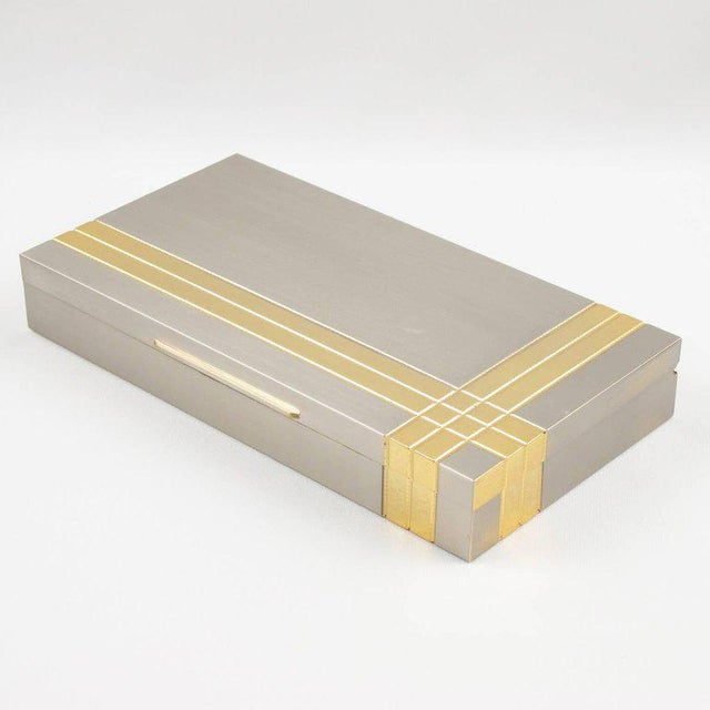 Italian Italian Noel b.c. 1970s Modernist Metal Box and Contact Book Desk Set For Sale - Image 3 of 10