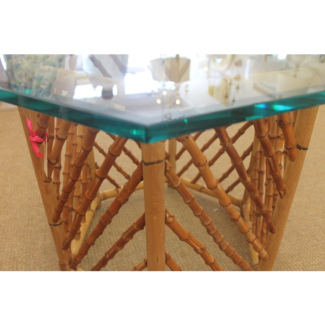 Bamboo Glass Top Table - Image 5 of 5