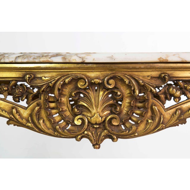 Wood 19th Century French Louis XV Style Giltwood Center Table circa 1870 For Sale - Image 7 of 11
