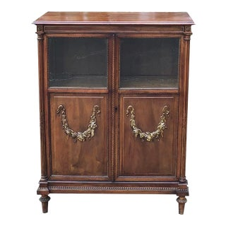 19th Century French Louis XVI Walnut Cabinet ~ Vitrine For Sale