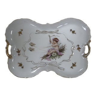 Art Nouveau Butterfly Shaped Gilded Porcelain Tray Cherub in Butterflies Pulled Chariot by Lenwile Ardalt Co. For Sale