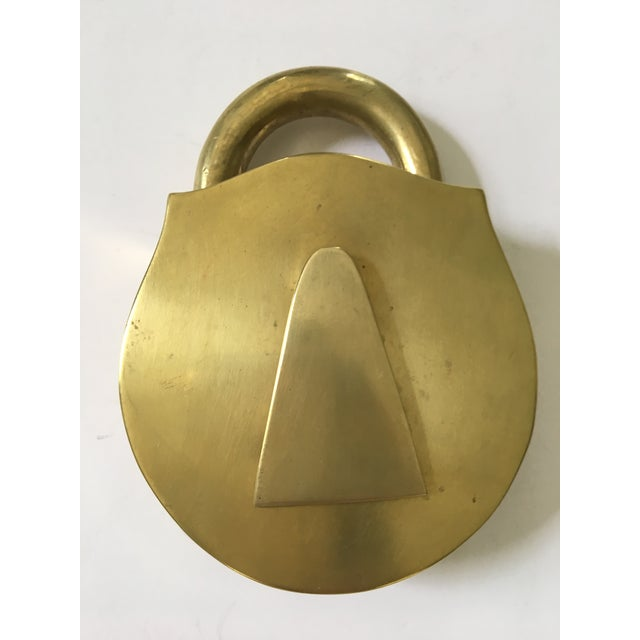 Mid-Century Modern Mid-Century Virginia Metalcrafters Solid Brass Padlock Ashtray/Catchall For Sale - Image 3 of 13
