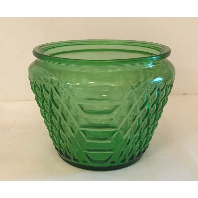 Green Mid Century Green Glass Patterned Vase/Planter For Sale - Image 8 of 8