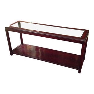 1970s Asian Rosewood and Glass Display Table For Sale