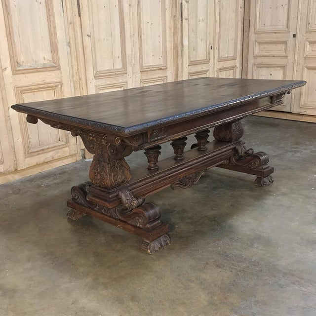 Mid 19th Century Antique Italian Renaissance Walnut Desk - Dining Table For Sale - Image 5 of 11