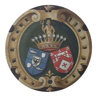 19th Century Hand-Painted Family Crest Plaque For Sale