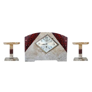 Pair of Italian Marble Art Deco Mantel Clock Set With Matching Garniture - 50th Anniversary Sale For Sale