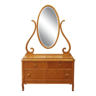 Early 20th Century Antique Bird's Eye Maple Vanity For Sale