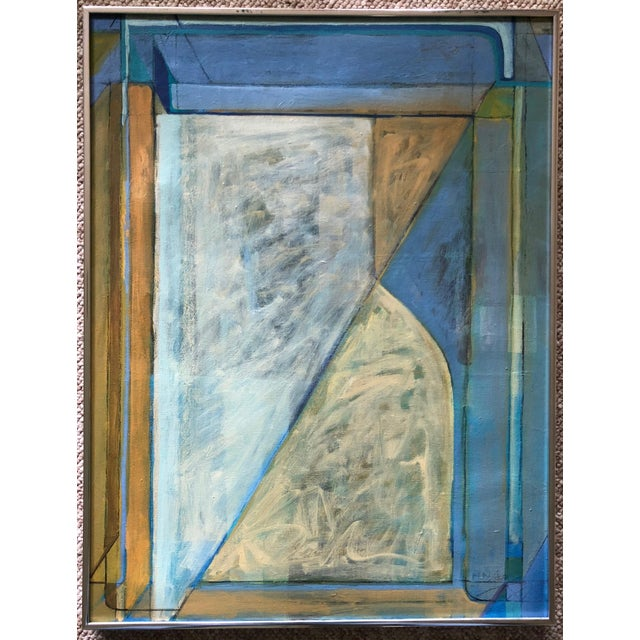 Vintage 80s Geometric Abstract Oil Painting Signed Mariko Nutt For Sale - Image 9 of 9