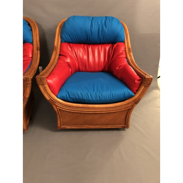 1960s Mid Century Modern Maguires Style Red and Blue Upholstered Rattan and Bamboo Outdoor Swivel Chairs - a Pair For Sale - Image 4 of 11