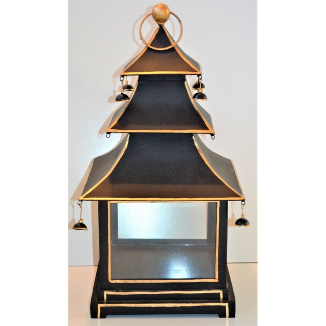 This is a large vintage Black and Gold Toleware Pagoda Lantern. This is a very fun piece and would look fantastic as a...
