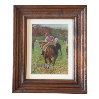 Vintage Pastel Horse & Jockey After Degas Painting For Sale