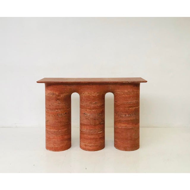 Stone 1970s Italian Red Travertine Console For Sale - Image 7 of 7