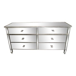 Mirrored Six-Drawer Dresser with Silver Leaf Trim For Sale