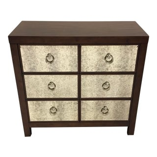 Modern Antiqued Mirror and Wood Chest of Drawers For Sale