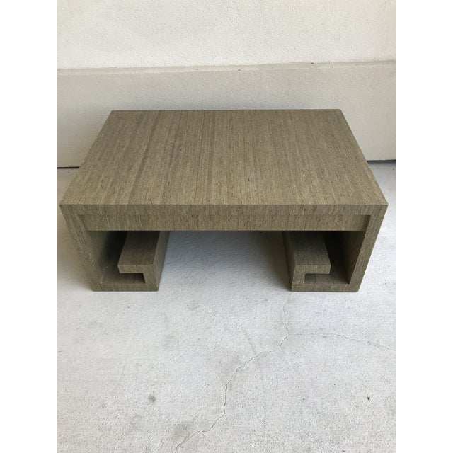 Contemporary Grasscloth Greek Key Coffee Table For Sale - Image 3 of 13