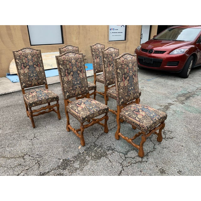 1900s Century French Country Louis XIII Style Os De Mouton Dining Chairs - Set of 6 For Sale - Image 4 of 13