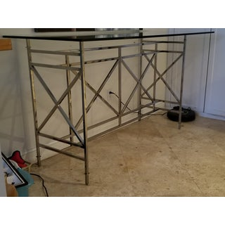 Designer Modern Chrome and Robb and Stuckey Glass Bar or Tall Console Preview